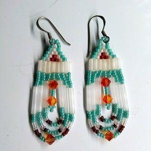 Handmade Turquoise Swarovski Beaded Earrings